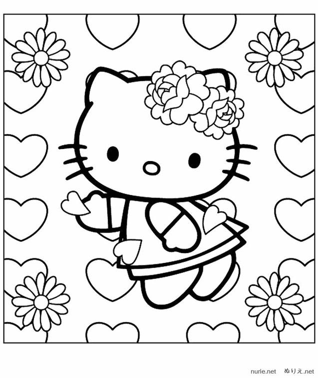 画像 ハローキティhello Kittyのぬりえテンプレート【無料塗り絵イラスト画像素材】 Naver まとめ